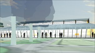 Artists impression of of what the outside of the new pool could look like