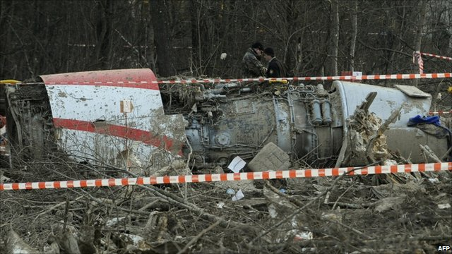 Wreckage of Polish government plane which crashed near Smolensk airport 10 April 2010
