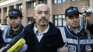 Police escort Dr Yusuf Sonmez to court in Istanbul, 12 January