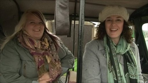 Anna Hagens and Lisa Gibson with their Tuk Tuk