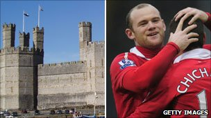 Caernarfon Castle and Wayne Rooney of Manchester United
