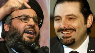 Hezbollah leader Hassan Nasrallah, left and Lebanese Prime Minister Saad Hariri 