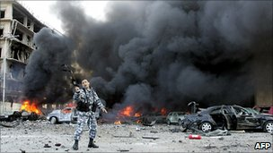 Scene on 2005 attack on Lebanese former Prime Minister Rafiq al-Hariri