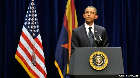 Barack Obama speaks at the McKale Memorial Center in Tucson (12 January 2011)