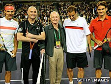 Rafael Nadal and Andre Agassi (left) played Pete Sampras and Roger Federer (right)