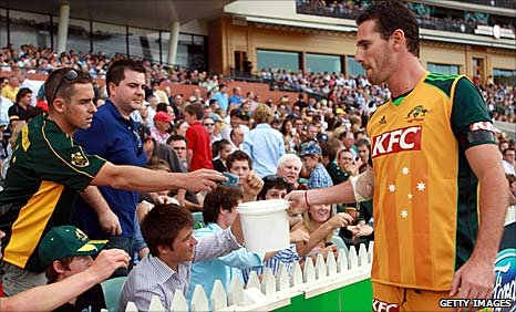 Australia's Shaun Tait collected money at the Twenty20 game against England