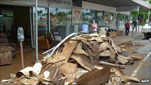 Debris outside shops in Toowoomba, Queensland, two days after flash flooding (12 January 2011)
