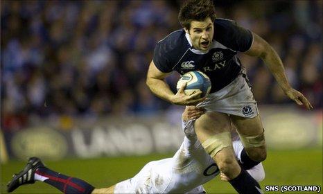Johnnie Beattie in action against England