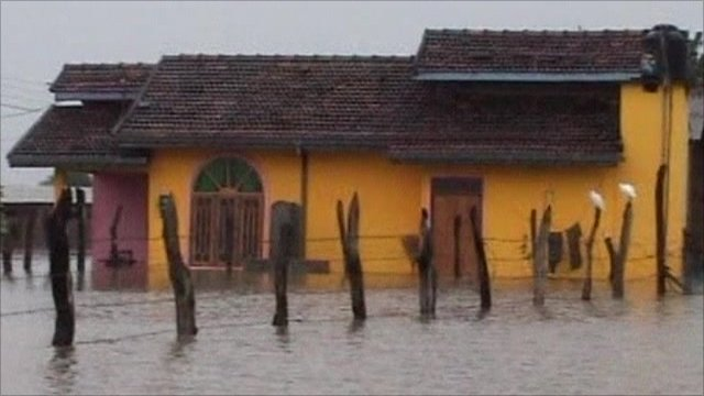 Flooded house in Sri Lanka