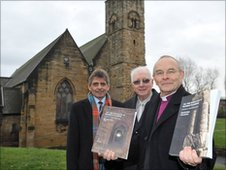 Cllr Denny Wilson, portfolio holder for Safer City and Culture, Sunderland Council; Cllr Alan Kerr, Deputy Leader, South Tyneside Council and the Right Reverend Mark Bryant, Bishop of Jarrow, chairman of the Wearmouth-Jarrow Partnership.