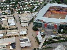 Aerial view over Brisbane's Suncorp stadium