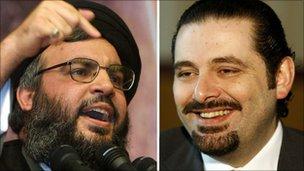 Hassan Nasrallah and Saad Hariri
