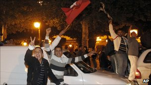 Mr Ben Ali's supporters took to the streets in celebration on Thursday evening
