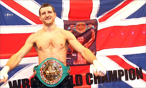 Carl Forch celebrates with the WBC title