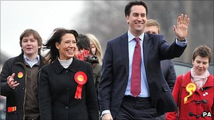 Ed Miliband out campaigning with victorious Labour candidate Debbie Abrahams