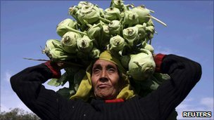 A farmer carries vegetables for sale at her field in Jammu on 13 January 2011
