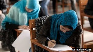 Afghani female students attend Kabul university on July 6, 2010 in Kabul, Afghanistan