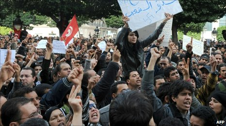 "A protester in Tunis holds a banner reading: ""The party of Ben Ali, ennemy of the people."" (14 January 2011)"