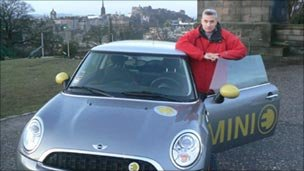Brian Milligan and the electric mini in Edinburgh
