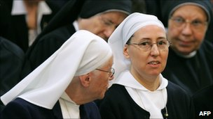 Sister Marie Simon-Pierre (centre right) attends a ceremony in San Giovanni Basilica in Rome, 2 April 2007