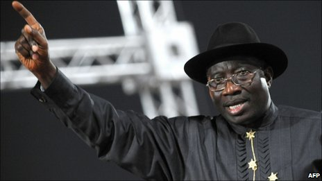 Nigeria's Goodluck Jonathan during his party's primaries, 14 January 2011