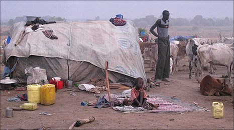 Dawn in a cattle camp in Southern Sudan
