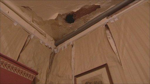 Damage at Hagley Hall