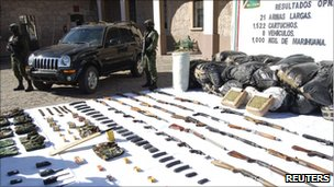 Weapons, drugs and cars seized in an operation against a drug cartel in Morelia (10 Jan 2011)