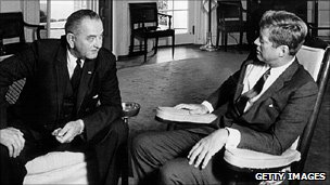 Lyndon Johnson and John F Kennedy