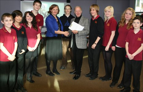 School Reporters and Peter Thompson, president of Schools Radio, at Isca College of Media Arts, Exeter.