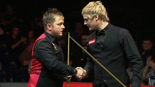 Mark Allen & Neil Robertson shake hands at the end of their match