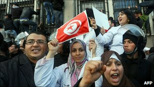 Protesters at the interior ministry, 14 January 2011