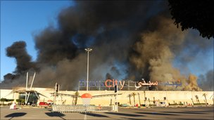 Supermarket on fire in Tunisia