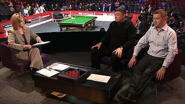 Presenter Hazel Irvine (left) asks BBC users' emails to John Parrott and Stephen Hendry