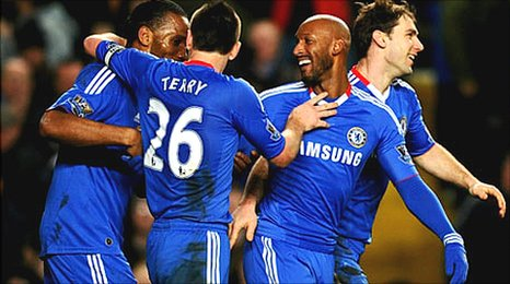 Chelsea celebrate their clinching second goal against Blackburn