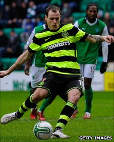 Anthony Stokes scores from the penalty spot