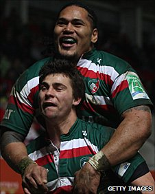 Alesana Tuilagi helps Ben Youngs celebrate his try for Leicester