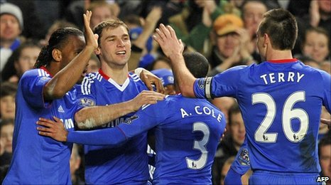 Chelsea celebrate in Blackburn win