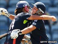 England's Jenny Gunn and Danielle Hazell celebrate