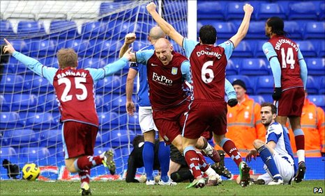 James Collins (centre) and Villa team-mates celebrate