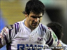 A dejected Mike Phillips of the Ospreys