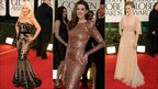 Christina Aguilera, Anne Hathaway and Scarlett Johansson at the Golden Globes