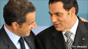 President Sarkozy pictured with Zine al-Abidine Ben Ali in 2008