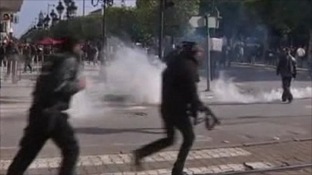 People being dispersed with teargas