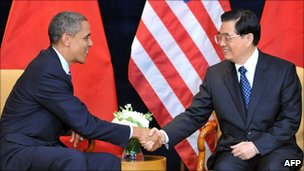 US President Barack Obama and China's Hu Jintao meet in Seoul, 11 Nov 2010