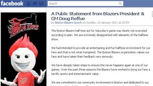 Grab of Doug Reffue's statement on Boston Blazers' Facebook page