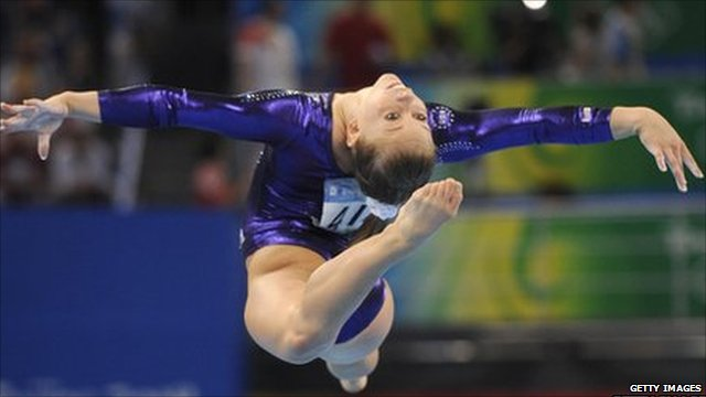 Shawn Johnson in competition in the Beijing Olympics in 208