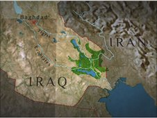 Map of marshes in Iraq