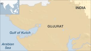 Map showing Gulf of Kutch