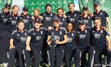 England celebrate their series win